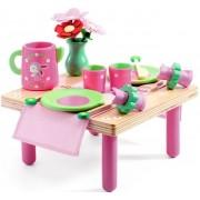 DJECO Drewniany zestaw przyjęcie urodzinowe - zestaw urodzinowy Lili Rose (stolik i akcesoria),