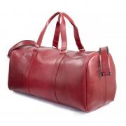 Brødrene CORTEZ Czerwona męska torba ze skóry Podróżna smooth leather