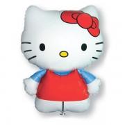 Fólia lufi, Hello Kitty, piros ruhás, nagyforma kb. 80 cm