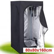 Costway Tente Hydroponique Chambre de Culture Pousse Culture Hydroponique 210D Tissu Oxford 80 x 80 x 160 cm Noir