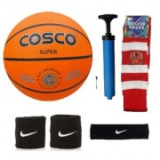 Cosco Super Basketball (Size-5) with Air Pump Black Head Band Free Pair of Wrist Band Soccer Socks