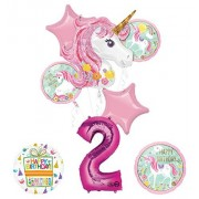 Mayflower Products Unicorn Party Supplies Believe in Unicorns 2Nd Birthday Balloon Bouquet Decorations