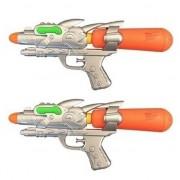 Merkloos 2x Voordelige waterpistolen oranje/groen 31 cm