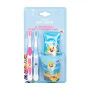 Pinkfong Baby Shark sada zubní pasta 75 ml + zubní kartáček 2 ks + kelímek na zubní kartáček