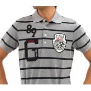 パーリーゲイツ 半袖トップス ゴルフウェアメンズ 定番BIGワッペンボーダーポロ