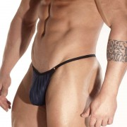 Don Moris Black Line Printed Rings Thong Underwear Dark Blue DM031776
