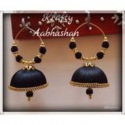 krafty aabhushan silk thread hoop black jhumkas xxl size