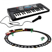 Combo of 37 Key Piano Keyboard Toy with DC Power Option Recording Mic and Train with Big Track Light and Sound