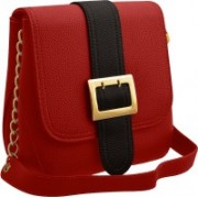 TAP FASHION Stylish Casual Fancy Elegant PU Leather Women's Handbag With Sling Belt Red, Black Sling Bag
