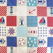 BEACH, patchwork mintás lakástextil dekorvászon