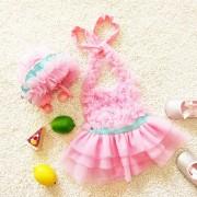 Niña Princesa Encaje Bowknot Vestido Lindo Traje De Baño Bikini Set Siameses Con Gorro, Talla: M (rosa)