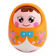 IndusBay Push And Shake Wobbling Tumbler doll Durable Roly Poly with Soothing bell sound - Orange