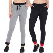 Cliths Black Red Black Grey Cotton Women's Track Pant Pack Of 2 for Running|Sports Track Pants For Women/Girls