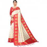 Indian Beauty Women's Red Color Mysore Silk Printed Saree Border Tassels With Blouse Piece(WEDDING-JHUMKA-RED_Free Size)
