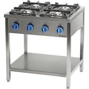 Stalgast Cuisinière à Gaz 4 Brûleurs avec Etagère 800x700x(h)850mm 20,5kW G30/31 (Propane-butane)