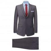 vidaXL Мъжки костюм, 2 части, сив, размер 46