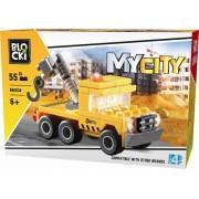Joc constructie, My City, Camion cu macara, 55 piese Blocki