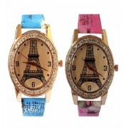 VITREND(R-TM)Latest New Eiffel tower Printed Dial Analog Combo Watches for Women Girls(Sent As per Available Colour)