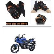 AutoStark Gloves KTM Bike Riding Gloves Orange and Black Riding Gloves Free Size For Bajaj Pulsar AS150