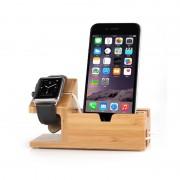 Suport birou Bambus Iphone si Apple Watch D6