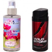 Wild Stone Ultra Sensual Body Deodorant 150ml and Pink Root Club Nuit Femme Fragrance body Spray 200ml Pack of 2