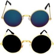 eyevitals Round Sunglasses(Blue, Grey)