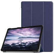 HAT PRINCE for Samsung Galaxy Tab A 10.5 (2018) T590 T595 Tri-fold PU Leather Stand Smart Casing Shell - Dark Blue
