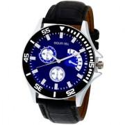 Golden Bell Men'S Black Blue Round Genuine Leather Strap Wrist Watch (437Gb)