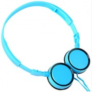 New Universal Foldable Headband 3.5mm Wired Headphone Sports PC Headset with Mic - Blue
