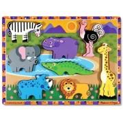 Melissa Doug Safari Wooden Chunky Puzzle (8 pcs)
