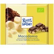Ciocolata Ecologica cu Lapte si Bucati de Nuci Macadamia Ritter Sport 65g