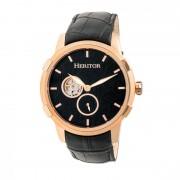 Heritor Automatic Callisto Semi-Skeleton Leather-Band Watch - Rose Gold/Black HERHR7205