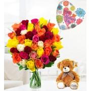 Rose, Bear and Balloon Bundle