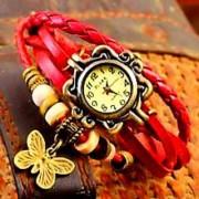 Round Analog Red Leather Women Quartz Watch a10