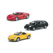 Playking Kinsmart Combo of 5'' Die Cast Metal * Doors Openable * Pull Back Action Porsche Cayenne Turbo, Porsche Boxster S & Porsche Carrera GT, Color May Vary