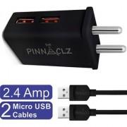 Pinnaclz Combo WC-4 + 2M B of Dual USB 2.4 Amp Wall Charger (Black) + 2 pcs 3 Feet Sync Charge Micro USB Data Cable