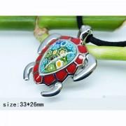 Медальон Костенурка с муранско стъкло изработен от медицинска стомана 316L (DXP10723)