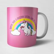 Own Brand Happier Than A Unicorn Eating Cake mok