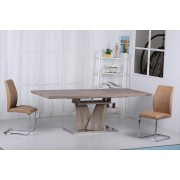 Elisa Oak Finish Extending Dining Table with Stainless Steel Base - Dining Table With 6 Chairs