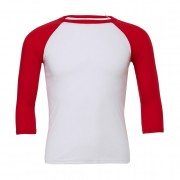 Tričko Bella Triblend Baseball 3/4 - bílé-červené