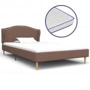 vidaXL Легло с матрак от мемори пяна, кафяво, плат, 90x200 см