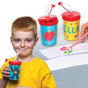 Colour-in Bendy Straw Cups Bulk Pack (Pack of 30)