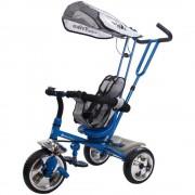 Tricicleta Super Trike 4 in 1 cu bara de protectie,control parental, centura de siguranta - Sun Baby - Albastru