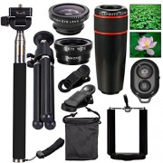 AFAITH Mobile Phones Lens 10-in-1 Lens Kit for Smartphone, 8x Telescope for telephoto / fisheye lens / 2 in 1 macro lens and remote control Selfie Stick Monopod + Bluetooth + Mini Tripod Monopod for iPhone 7 / iPhone 7 Plus, iPhone 6s / 6s Plus, Samsung G