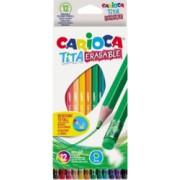 Set 12 Creioane Color CARIOCA Corp din Lemn Hexagonal 12 Culori Diferite si Radiera Inclusa La Fiecare Creion Set Creioane Colorate