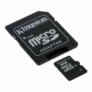Memóriakártya, microSDHC, 8GB, CL4, 4 MB/s, adapter, KINGSTON (MKMS8GA)