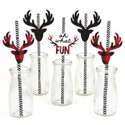 Prancing Plaid - Christmas Party Straw Decor with Paper Straws - Set of 24