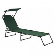[casa.pro]® Tumbona plegable 190cm verde oscuro con techo acero hamaca