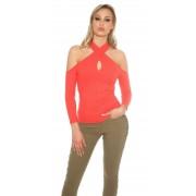 Cosmoda Collection Sexy blote schouder halter geribde pullover koraal-kleurig