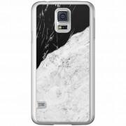 Casimoda Samsung Galaxy S5 (Plus) / Neo siliconen hoesje - Marmer zwart grijs